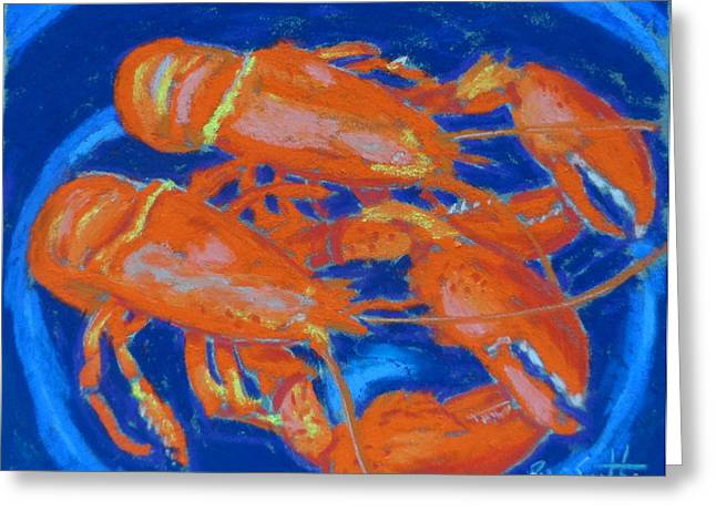 Dinner Pastels Greeting Cards - Lobsters Greeting Card by Rae  Smith PSC