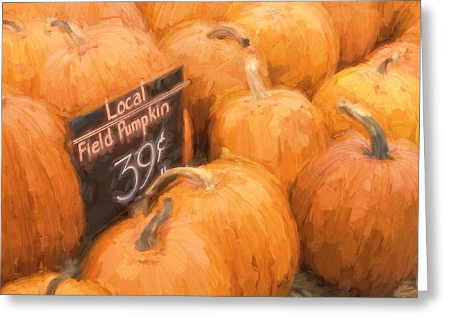 Pumpkins Greeting Cards - Local Field Pumpkins Painterly Effect Greeting Card by Carol Leigh