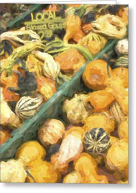 Farm Stand Greeting Cards - Local Glazed Gourds Painterly Effect Greeting Card by Carol Leigh