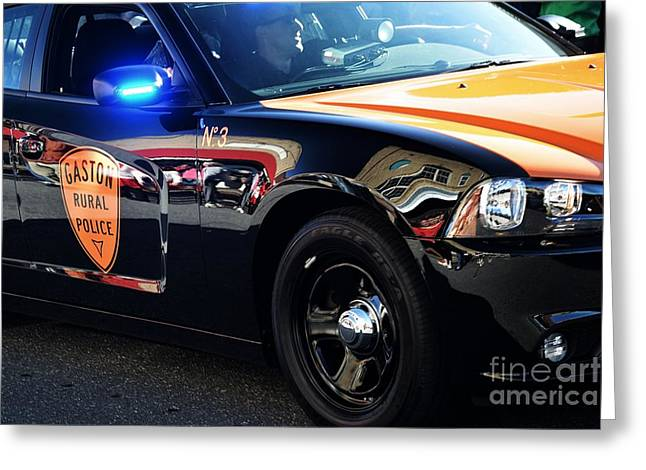 Local Police Cruiser Greeting Card by JW Hanley