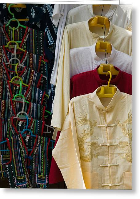 No Clothing Greeting Cards - Local Shirts For Sale, Dali, Yunnan Greeting Card by Panoramic Images