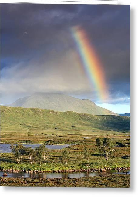 Glencoe Wall Art Greeting Cards - Loch Ba Rainbow Greeting Card by Grant Glendinning