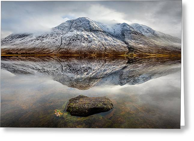 Scottish Highlands Greeting Cards - Loch Etive Reflection Greeting Card by Dave Bowman