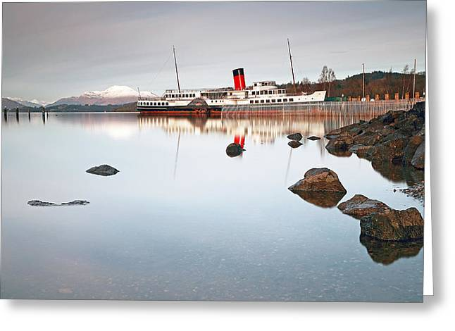 Print; Paddle Steamer Greeting Cards - Loch Lomond Shores Greeting Card by Grant Glendinning