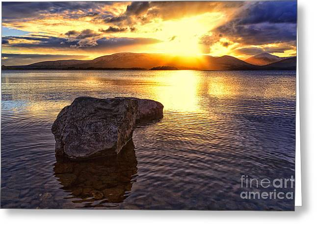 Scottish Landscapes Greeting Cards - Loch Lomond Sunset Greeting Card by John Farnan