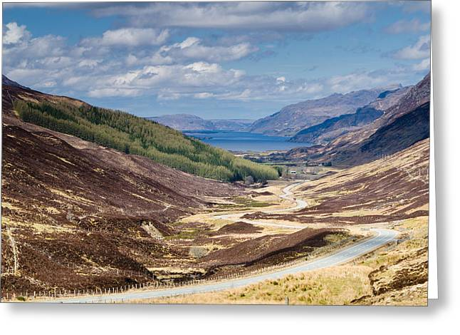 Slioch Greeting Cards - Loch Maree from Glen Docherty Greeting Card by David Head
