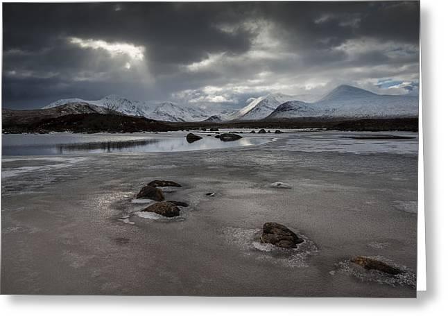 Glencoe Winter Landscape Greeting Cards - Loch Nah Achlaise Winter Landscape Greeting Card by Nigel Forster