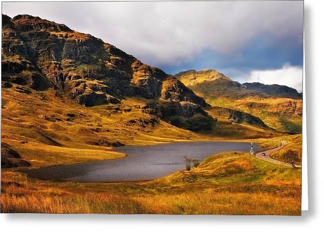Evgeniya Vlasova Greeting Cards - Loch Restil. Rest and Be Thankful. Scotland Greeting Card by Jenny Rainbow