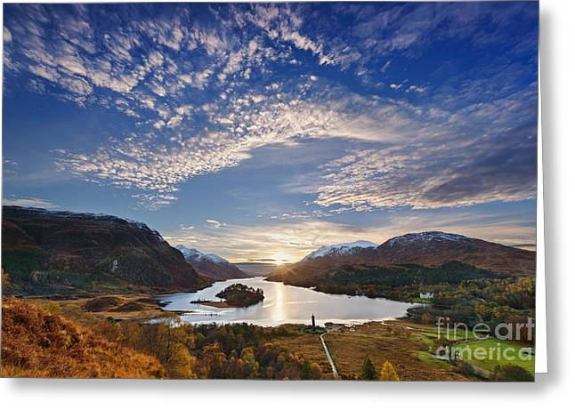 Snow Capped Photographs Greeting Cards - Loch Shiel Sunset Greeting Card by Rod McLean