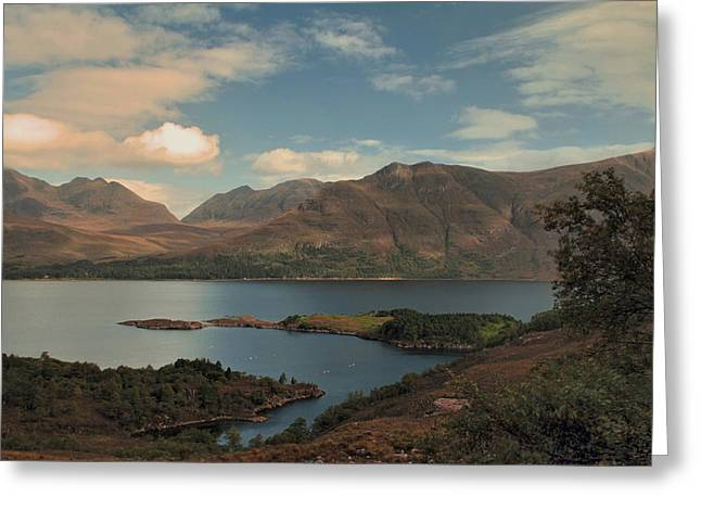 Torridon Greeting Cards - Loch Torridon and Mountains Greeting Card by David Borrill
