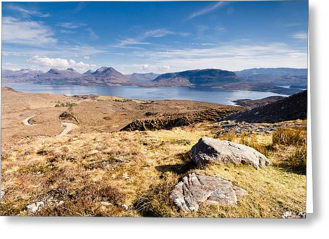 Torridon Greeting Cards - Loch Torridon from Bealach na Gaoithe Greeting Card by David Head