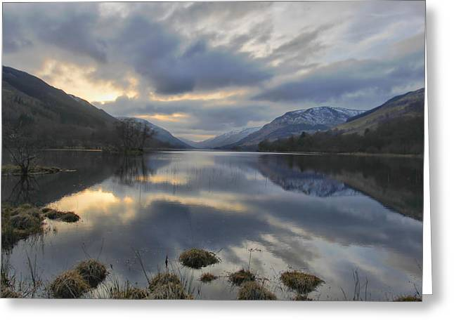 Buster Brown Greeting Cards - Loch Voile as sundown approaches Greeting Card by Buster Brown
