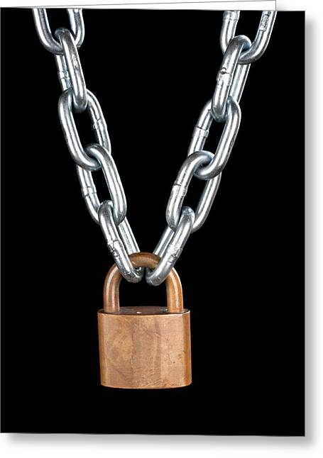 Safekeeping Greeting Cards - Lock and chain Greeting Card by Joe Belanger