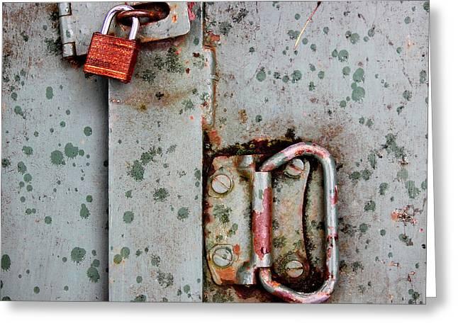 Denying Greeting Cards - Locked Away Greeting Card by Karen Adams