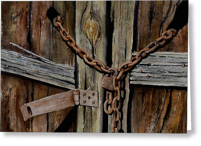 Chained Paintings Greeting Cards - Locked Doors Greeting Card by Sam Sidders