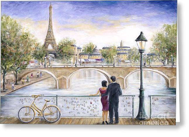 Eiffel Tower Greeting Cards - Locked In Love Greeting Card by Marilyn Dunlap
