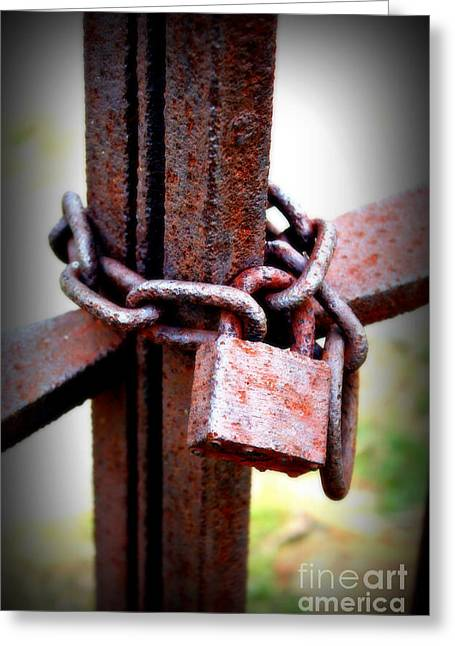 Locked Out Greeting Cards - Cemetery Lock to Keep the Dead In or the Living Out Greeting Card by Reid Callaway