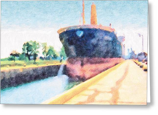 Ship Pastels Greeting Cards - Locked Ship 2 Greeting Card by Jeanette Charlebois