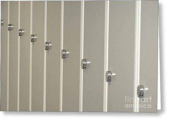 Fitting Room Greeting Cards - Lockers H Greeting Card by Ladi  Kirn