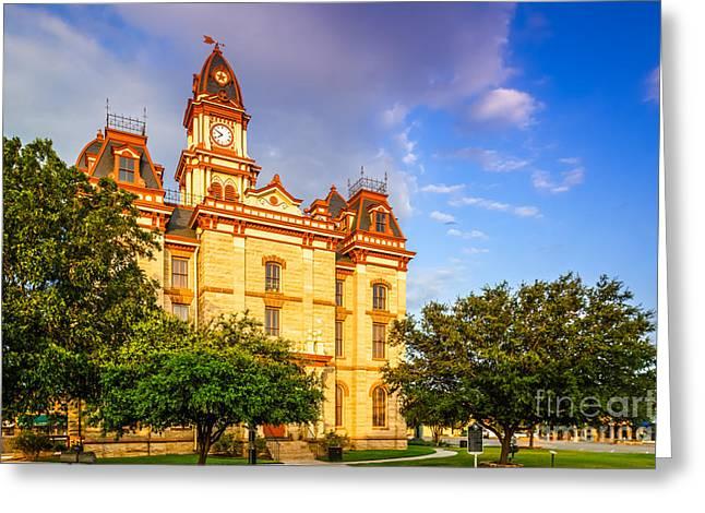 Main Street Greeting Cards - Lockhart Courthouse II Main Street - Lockhart Texas Greeting Card by Silvio Ligutti