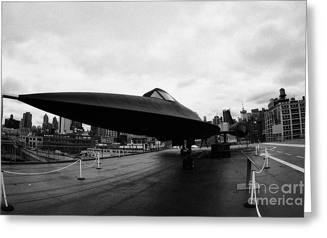 Manhatan Greeting Cards - Lockheed A12 Blackbird on the flight deck of the USS Intrepid at the Intrepid Sea Air Space Museum Greeting Card by Joe Fox