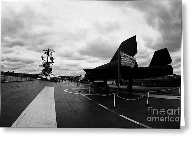 Manhatan Greeting Cards - Lockheed A12 Blackbird on the flight deck of the USS Intrepid Greeting Card by Joe Fox