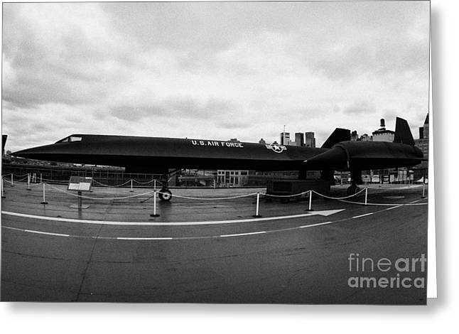 Manhatan Greeting Cards - Lockheed A12 Blackbird on the flight deck of the USS Intrepid new york city Greeting Card by Joe Fox