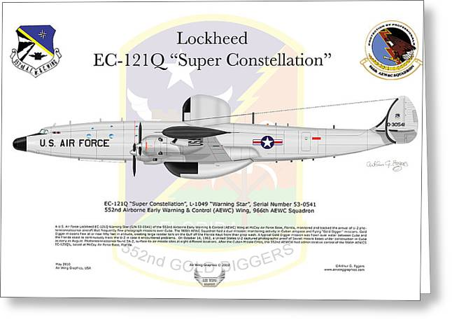 Deployment Prints Greeting Cards - Lockheed EC-121Q Super Constellation Greeting Card by Arthur Eggers