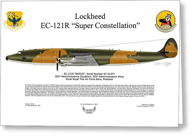 Aircraft Artwork Greeting Cards - Lockheed EC-121R 553RS Korat RTAFB Greeting Card by Arthur Eggers