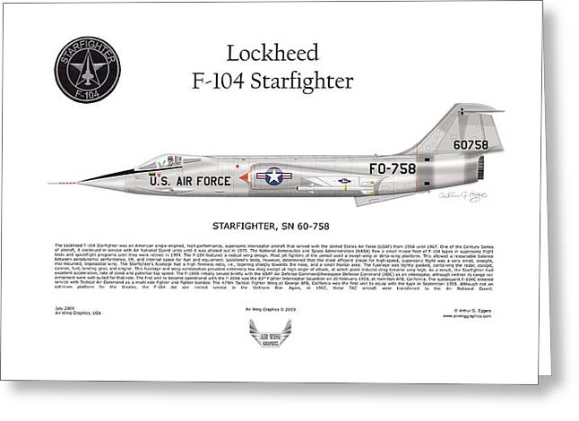 Squadron Graphics Greeting Cards - Lockheed F-104 Starfighter Greeting Card by Arthur Eggers