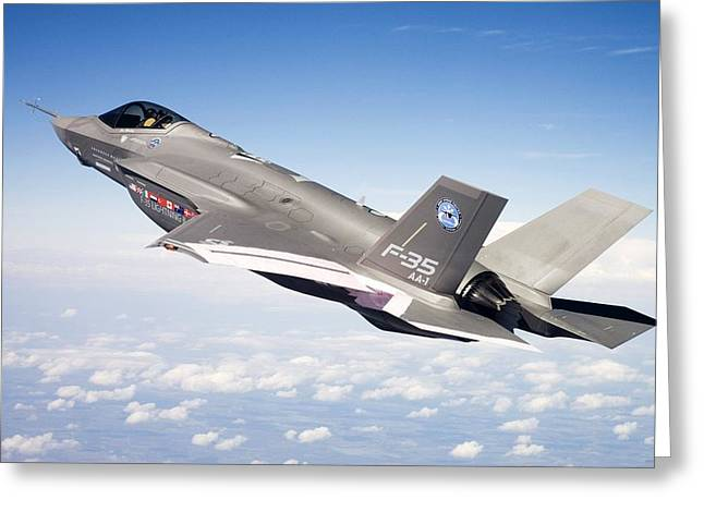 Barrel Roll Greeting Cards - Lockheed Martin F 35 Joint Strike Fighter Lightening II Greeting Card by US Military - L Brown