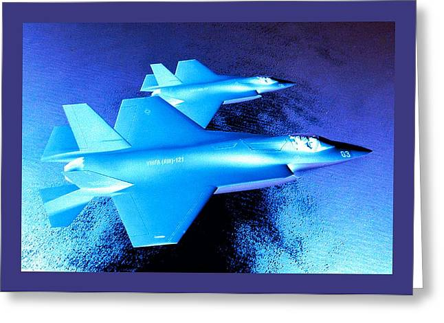 Barrel Roll Greeting Cards - Lockheed Martin F 35 Strike Fighters Night Mission Small Border Greeting Card by L Brown