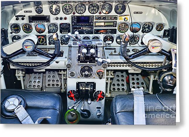 Lockheed Electra Greeting Cards - Lockheed 12A Electra Junior Cockpit Greeting Card by Olga Hamilton
