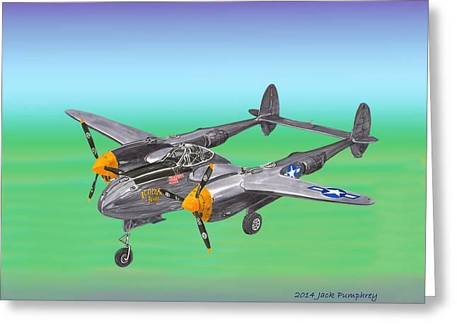Ground Level Mixed Media Greeting Cards - Lockheed P 38 Lightning Greeting Card by Jack Pumphrey