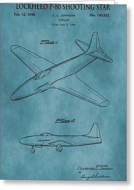 Jet Star Greeting Cards - Lockheed P-80 Patent Blue Greeting Card by Dan Sproul