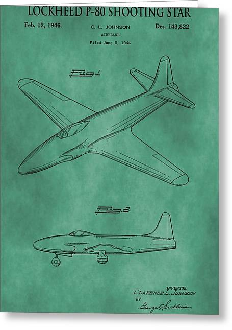 Jet Star Digital Art Greeting Cards - Lockheed P-80 Patent Green Greeting Card by Dan Sproul