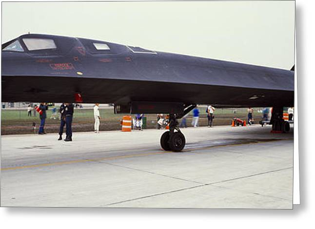 Military Airplanes Photographs Greeting Cards - Lockheed Sr-71 Blackbird On A Runway Greeting Card by Panoramic Images