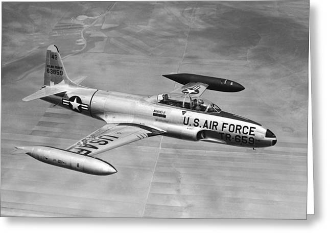 Trainer Aircraft Greeting Cards - Lockheed T-33 Jet  Trainer Greeting Card by Underwood Archives