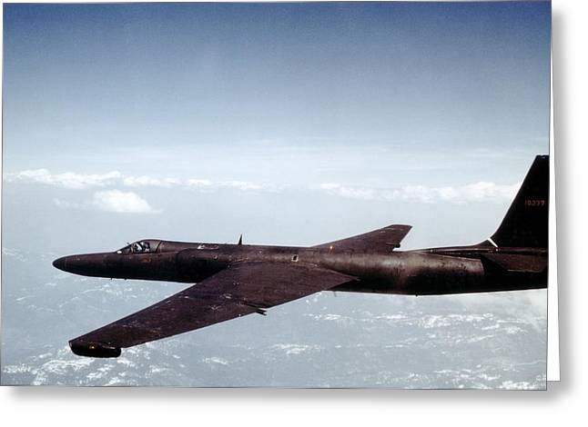 Lockheed Photographs Greeting Cards - Lockheed U-2 spy aircraft, 1950s Greeting Card by Science Photo Library