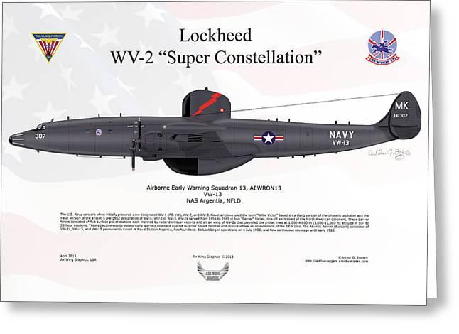Arthur Eggers Greeting Cards - Lockheed WV-2 Super Constellation AEWRON13 Greeting Card by Arthur Eggers