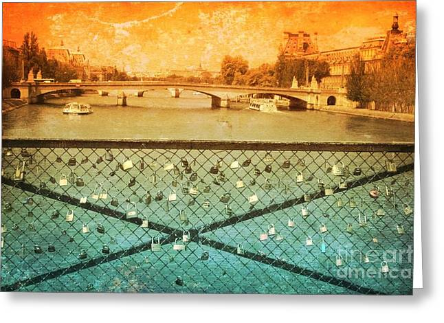 Famous Bridge Greeting Cards - Locks over the Seine with Textures Greeting Card by Carol Groenen