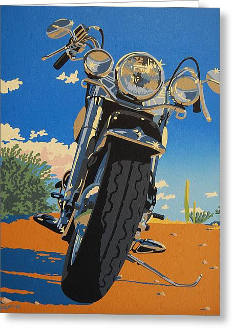 Motorcycles Greeting Cards - Loco Motion Greeting Card by Cheryl Fecht