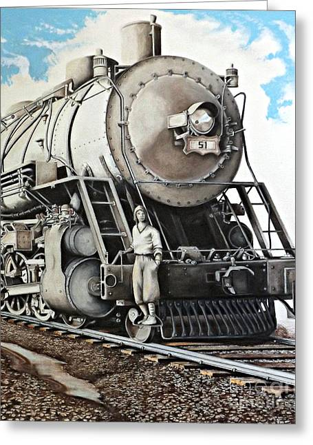 Rocks Drawings Greeting Cards - Locomotion 1927 Greeting Card by David Neace