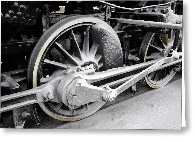 Locomotive 1095 Drive Wheels Greeting Card by Paul Wash