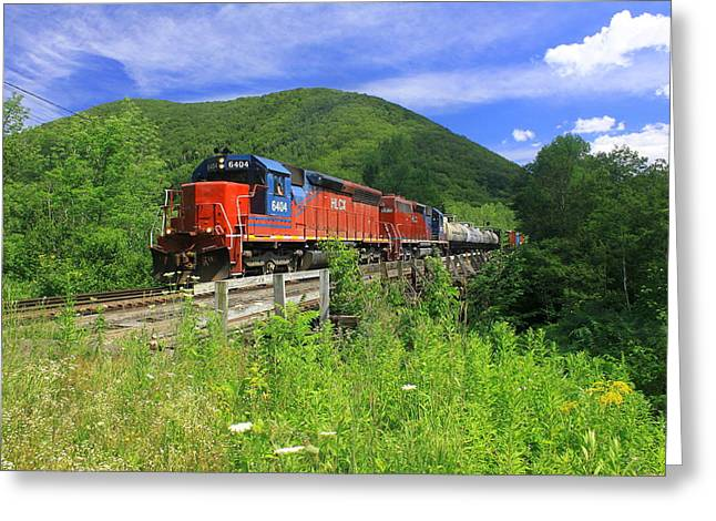 Deerfield River Greeting Cards - Locomotive and River Valley Greeting Card by John Burk
