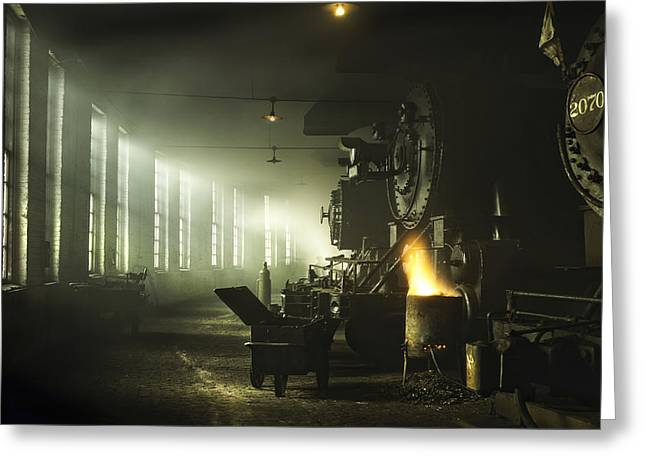 Railway Locomotive Greeting Cards - Locomotive Breath Greeting Card by Peter Chilelli