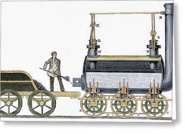 19th Century Photographs Greeting Cards - Locomotive Designed In 1814 By British Engineer And Inventor George Stephenson 1781-1848 Greeting Card by Bridgeman Images