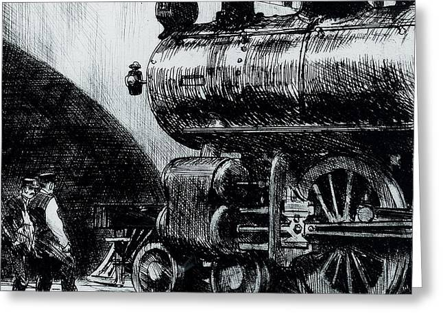 Train Bridge Greeting Cards - Locomotive Greeting Card by Edward Hopper