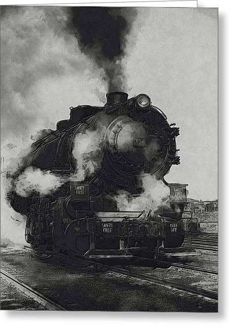 Displacement Greeting Cards - Locomotive Greeting Card by Jack Zulli