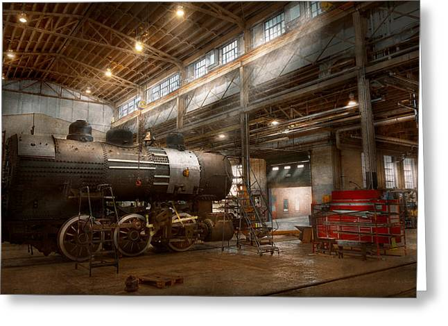 Hdr Look Photographs Greeting Cards - Locomotive - Locomotive repair shop Greeting Card by Mike Savad